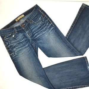 EUC BKE Women's 32 Bling Blue Cotton Madison BKL15925 Embroidered Studded Jeans